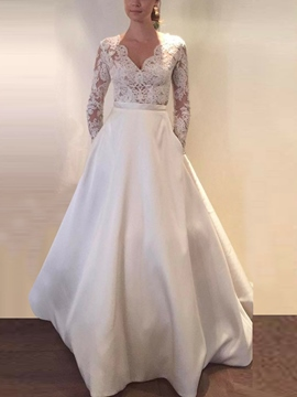Ericdress Appliques Pockets Long Sleeves Wedding Dress 2019