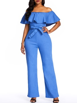 Ericdress Denim Patchwork Date Night Ruffles Off Shoulder Belt Jumpsuit