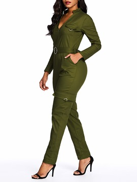 Ericdress Casual Plain Pocket Belt Slim Jumpsuit