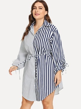 Ericdress Lace-Up Lapel Stripe Plus Size Blouse
