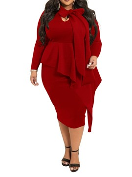Ericdress Falbala Long Sleeve Mid-Calf Office Lady Plain Plus Size Dress