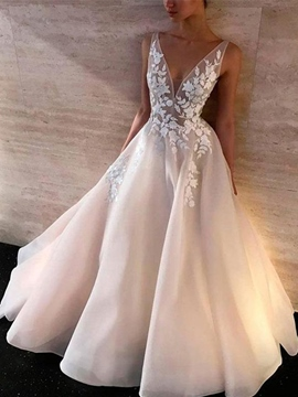 Ericdress A-Line Appliques Floor-Length Sleeveless Hall Wedding Dress