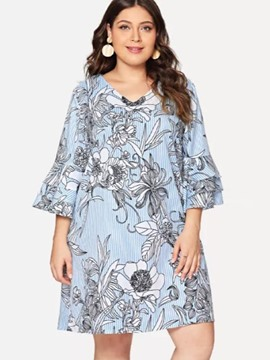 Ericdress Print Above Knee V-Neck Plus Size Travel Look Dress