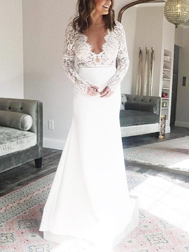 Ericdress Mermaid Long Sleeves Lace Wedding Dress