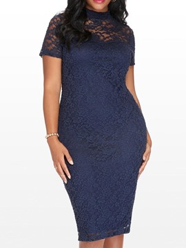 Ericdress Plus Size Short Sleeve Knee-Length Hollow Office Lady Pullover Dress