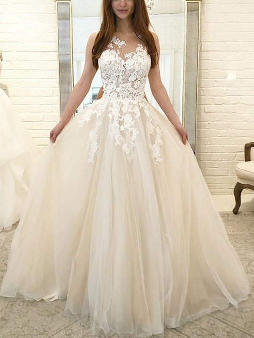 Ericdress A-Line Appliques Outdoor Wedding Dress 2019