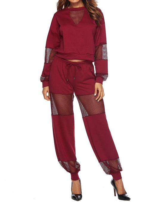 Ericdress Patchwork Sports Plain Hollow T-Shirt and Pants Two Piece Set