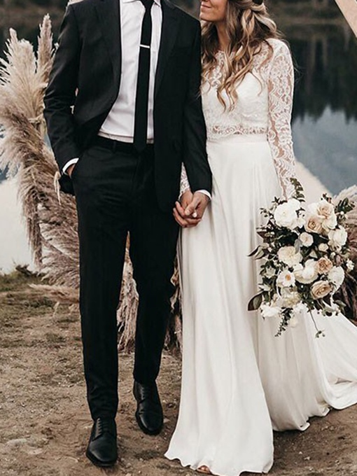 Ericdress Two Pieces Long Sleeves Lace Beach Wedding Dress 2019
