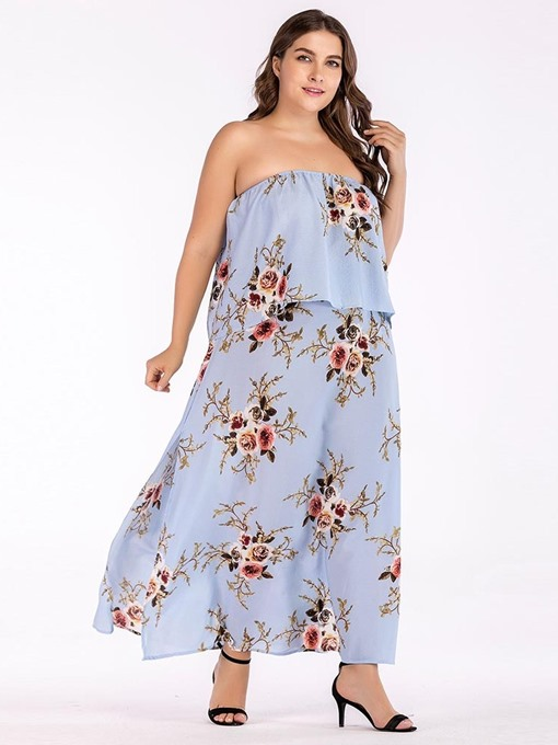 Ericdress Plus Size Sleeveless Falbala Ankle-Length Floral Strapless Dress