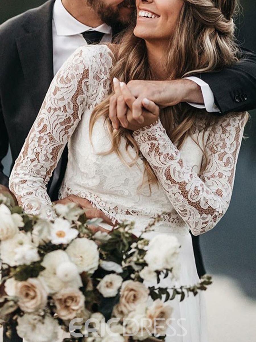 Ericdress Long Sleeves Lace Two Pieces Beach Wedding Dress 2019