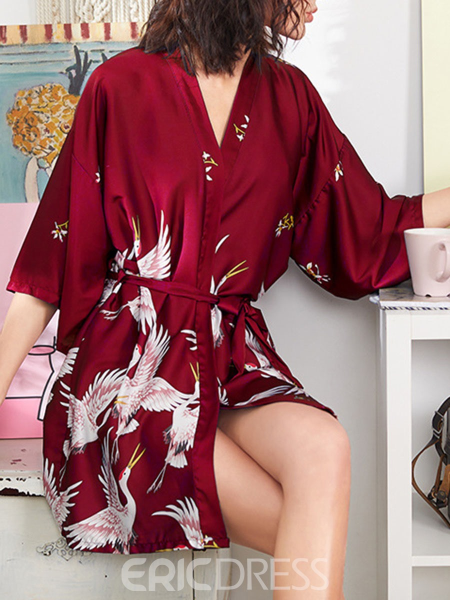 Ericdress Single Lace-Up Animal Loose Three-Quarter Sleeve Night-Robes