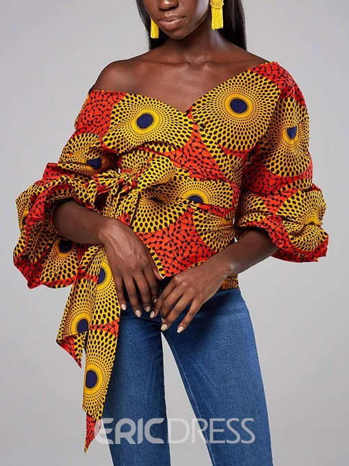 Ericdress African Fashion Lantern Sleeve Print Color Block Blouse