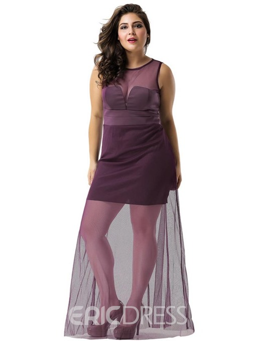 Ericdress Sleeveless See-Through Floor-Length Sexy Plus Size Dress