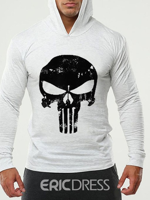 Ericdress Print Thin Skull Slim Men's Pullover Hoodies
