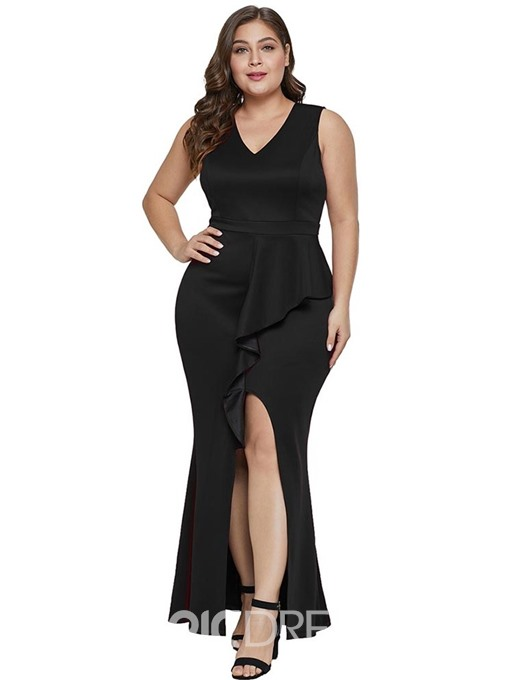 Ericdress Plus Size Floor-Length V-Neck Sleeveless Asymmetric Sexy Dress