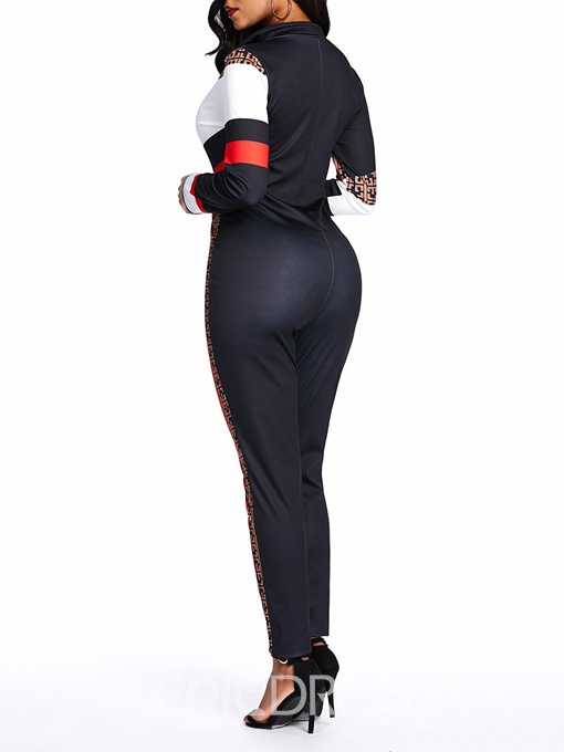 Ericdress Patchwork Zipper Color Block Casual Pencil Pants High Waist Jumpsuit