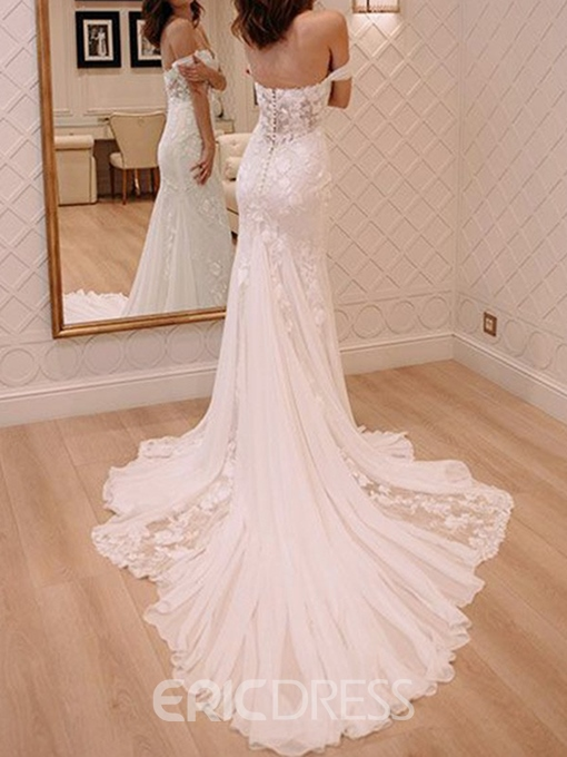 Ericdress Mermaid Off-The-Shoulder Lace Wedding Dress