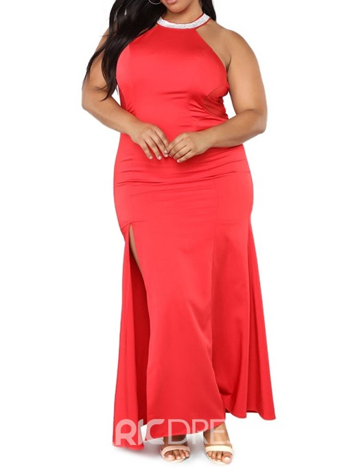 Ericdress Plus Size Round Neck Ankle-Length Sleeveless Standard-Waist Sexy Dress