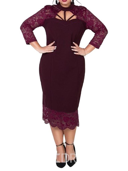 Ericdress Plus Size Mid-Calf Lace Stand Collar Pullover Cocktail Dress
