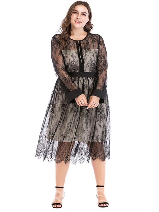 Ericdress Plus Size Round Neck Long Sleeve Patchwork Sexy Standard-Waist Dress