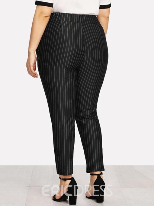 Ericdress Plus Size Stripe Slim High Waist Casual Pants