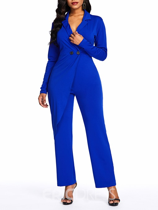 Ericdress Irregular Plain Overlay Embellished Button Notched Lapel Jumpsuit