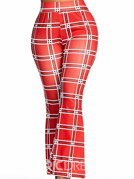 Ericdress Plaid Slim Print High Waist Bellbottoms Casual Pants