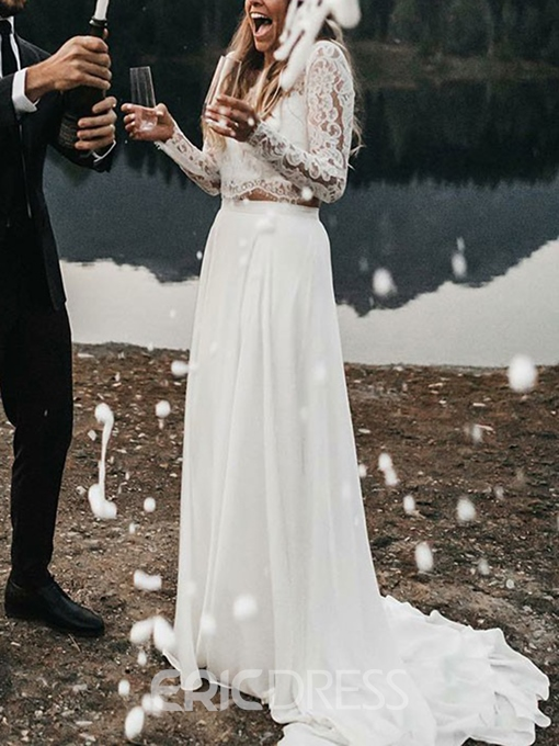 Ericdress Long Sleeves Lace Two Pieces Beach Wedding Dress