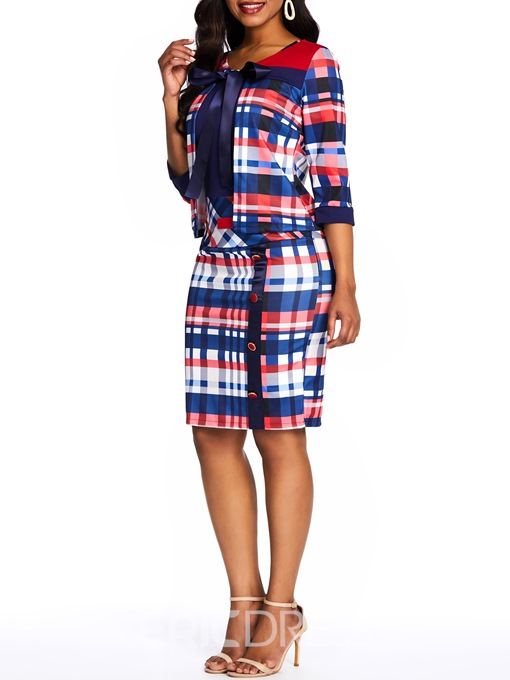 Ericdress Dress Wear to Work Plaid Coat and Dress