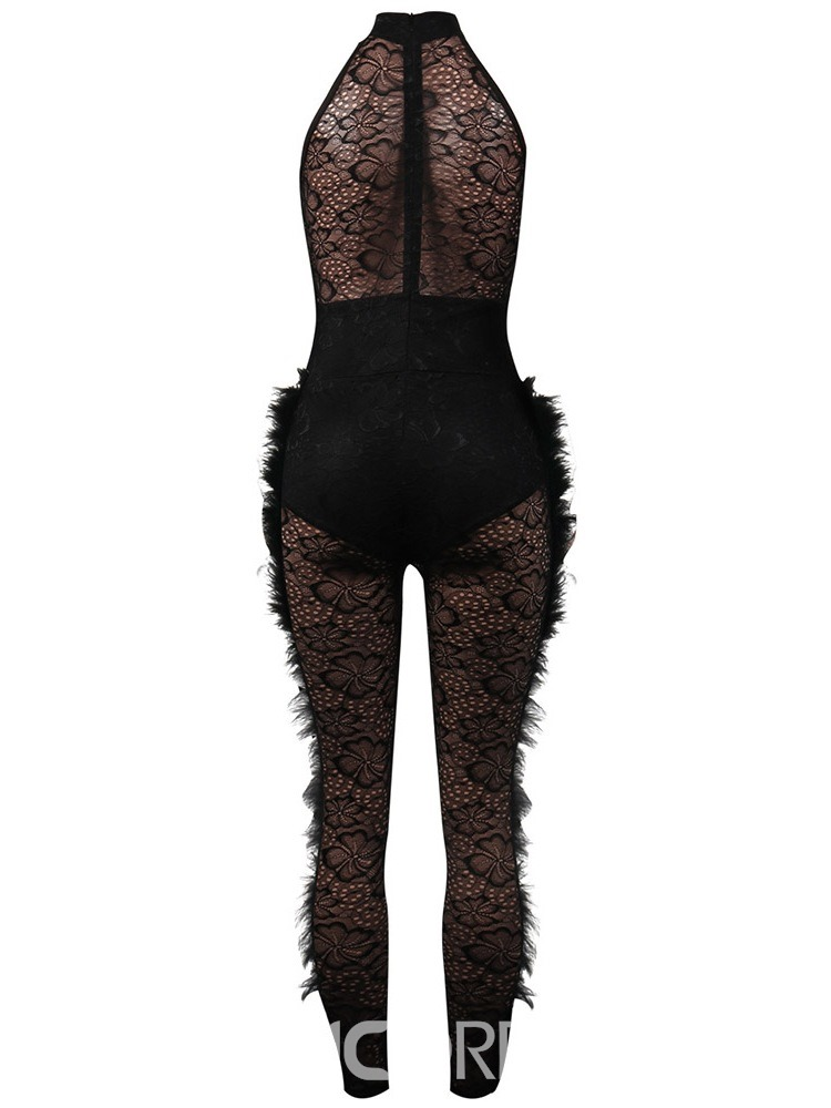 Ericdress Party/Cocktail Full Length Feather Sexy High Waist Jumpsuit