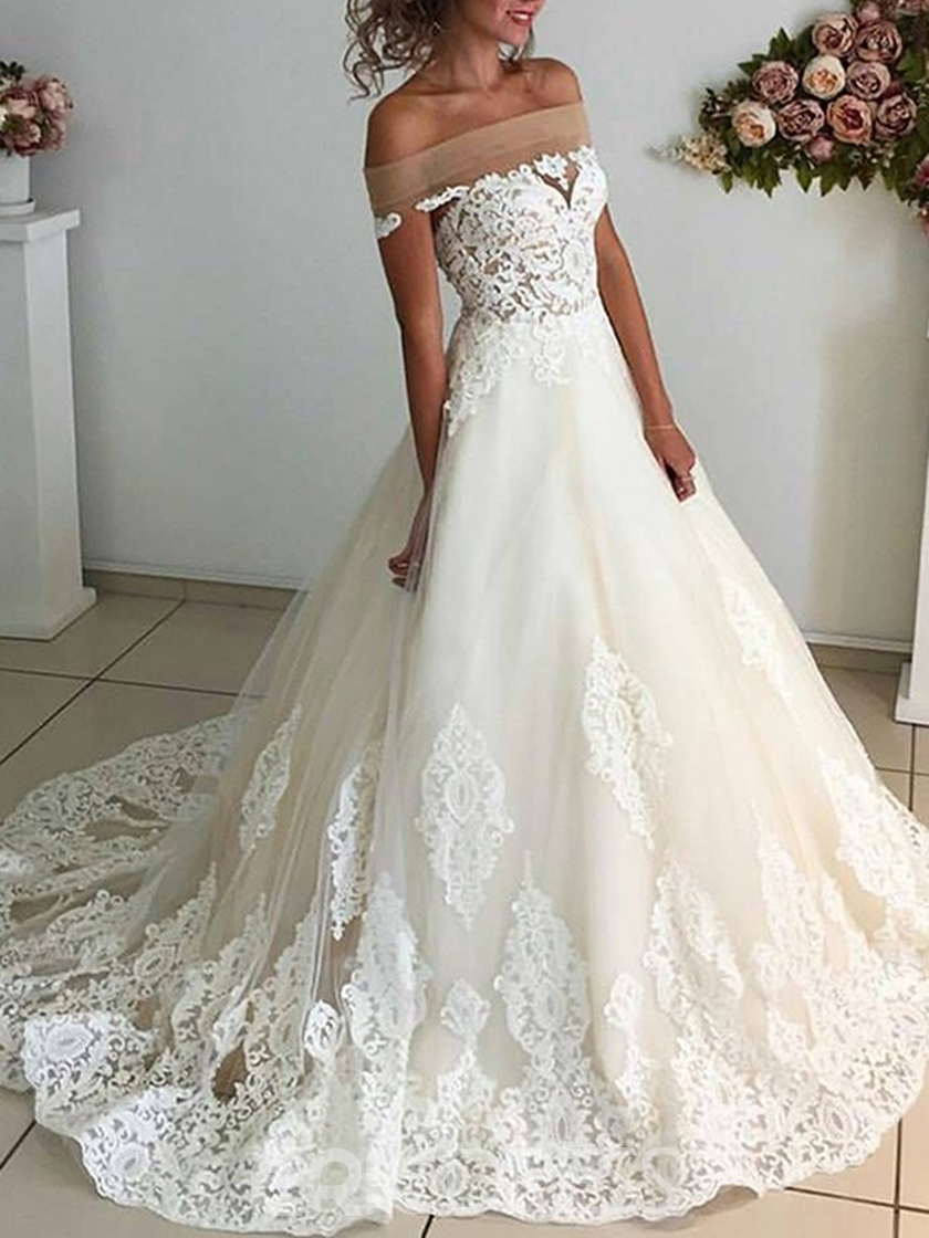 Ericdress Off the Shoulder Appliques Hall Wedding Dress