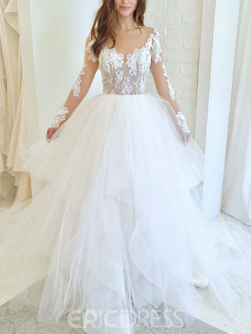 Ericdress Lace A-Line Tiered Long Sleeves Wedding Dress