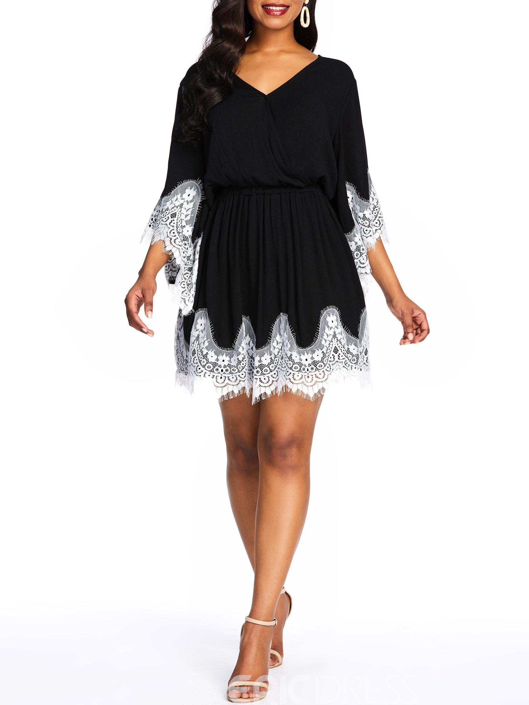 Ericdress Above Knee Flare Sleeve Lace Color Block Pullover Dress