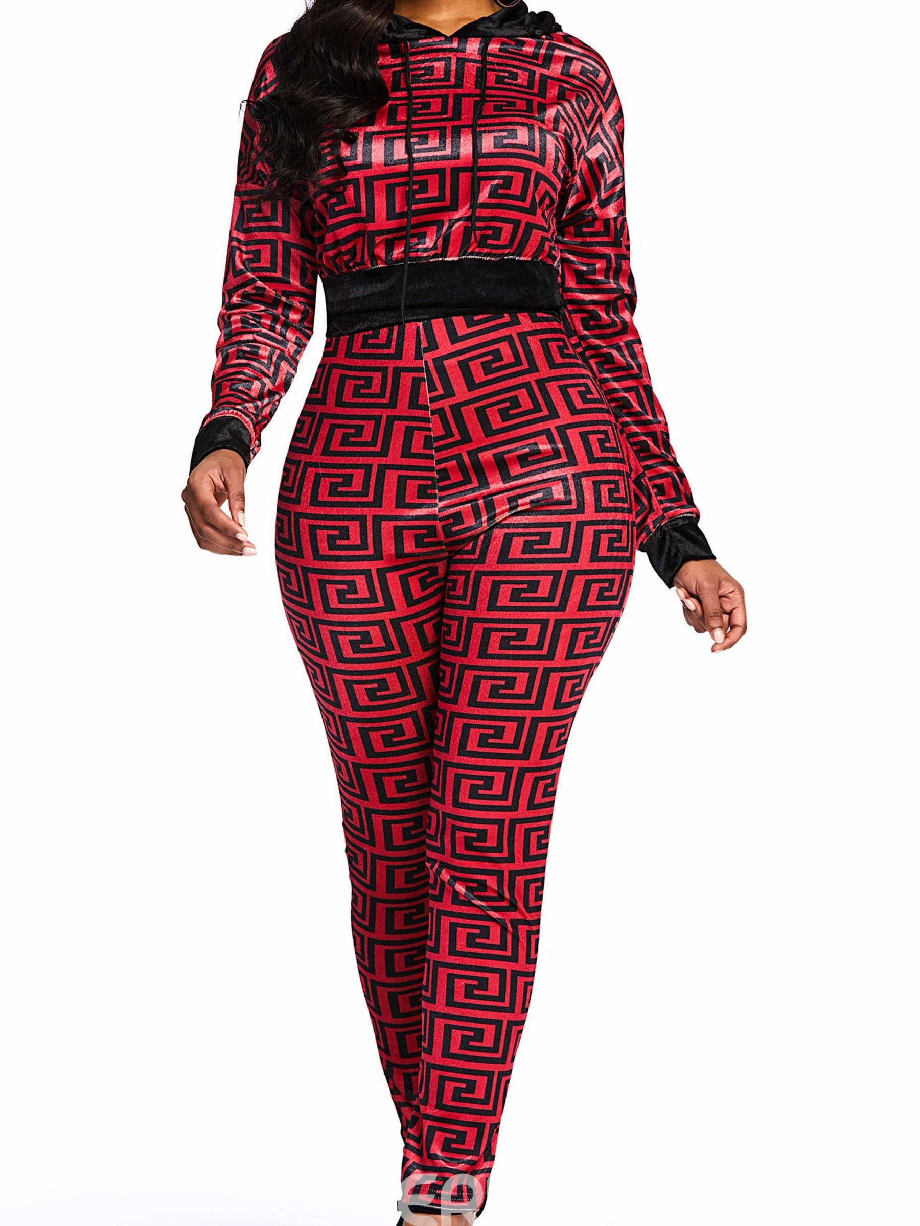 Ericdress Print Casual Patchwork Hoodie and Pencil Pants Two Piece Set