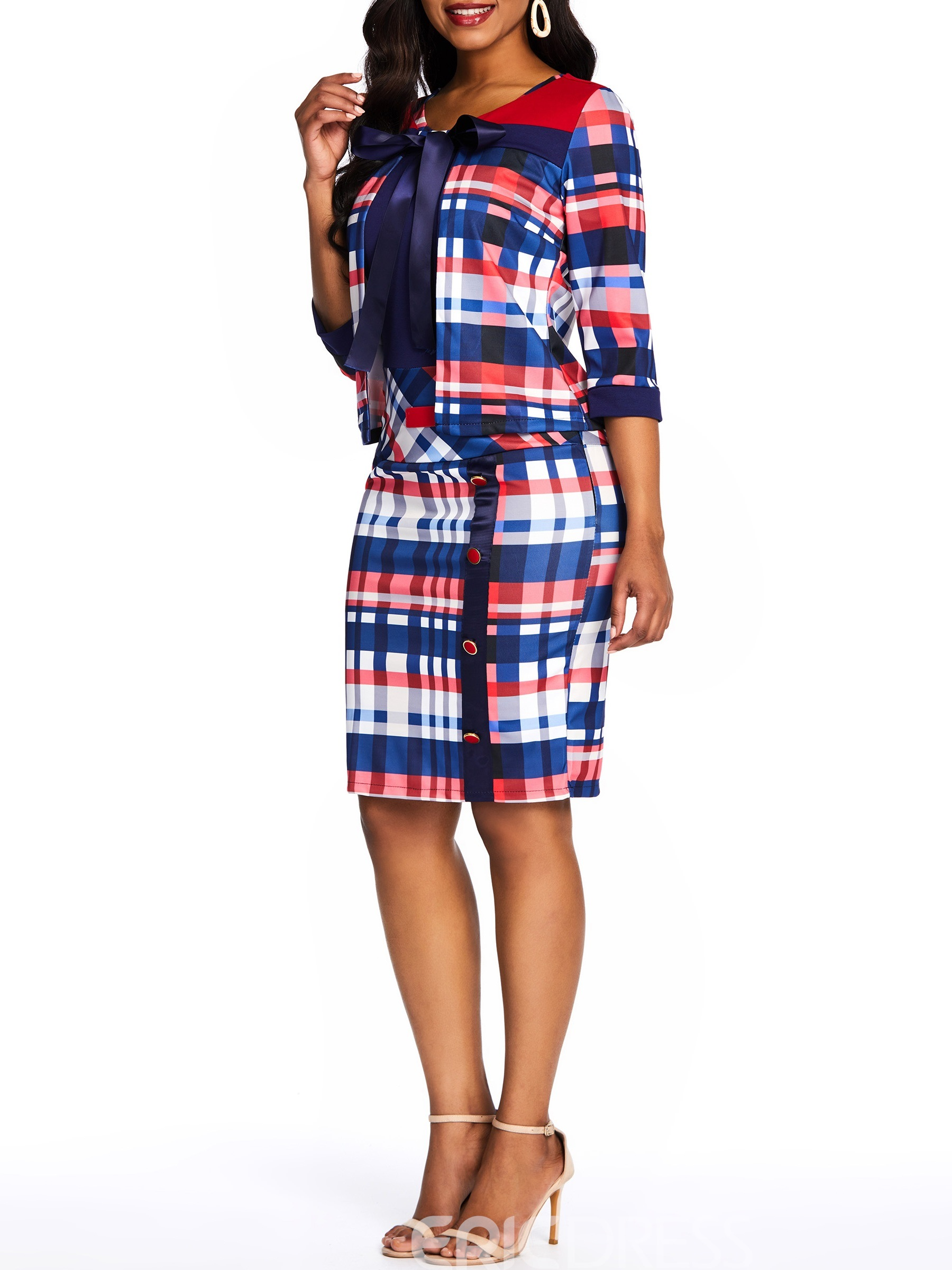 Ericdress Dress Wear to Work Plaid Bodycon Coat and Dress