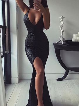 Ericdress Halter Sleeveless Mermaid Sequins Evening Dress 2019