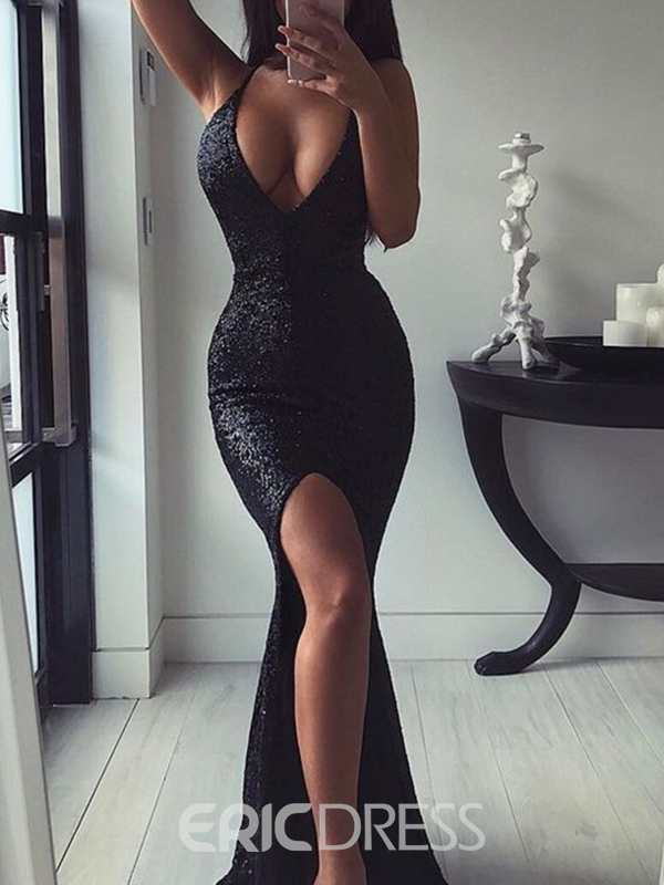 Ericdress Halter Sleeveless Mermaid Sequins Evening Dress