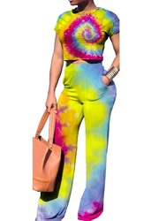 Ericdress Gradient Tie-Dye Casual Straight Pocket T-Shirt and Pants Two Piece Set thumbnail