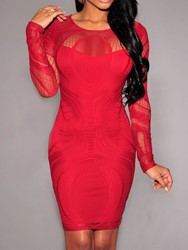 Ericdress Above Knee Long Sleeve Round Neck Lace Dress thumbnail