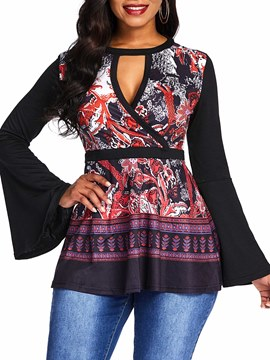 Ericdress Print Round Neck Floral Mid-Length Long Sleeve Blouse