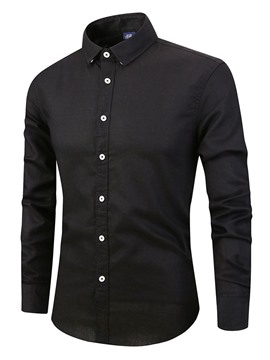 Ericdress Casual Plain Lapel Mens Slim Shirt