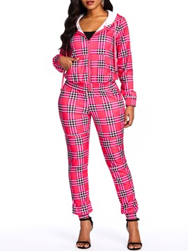 Ericdress Plaid Casual Zipper Coat and Pencil Pants Two Piece Set