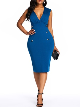 Ericdress V-Neck Mid-Calf Sleeveless Standard-Waist Pullover Dress