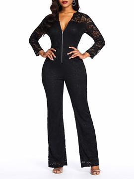 Ericdress Lace See-Through Date Night Patchwork Slim Jumpsuit