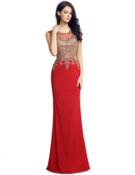 Ericdress Appliques Sleeveless Evening Dress 2019