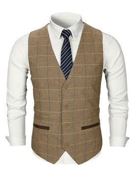 Ericdress V-Neck Plaid Single-Breasted Mens Casual Waistcoat