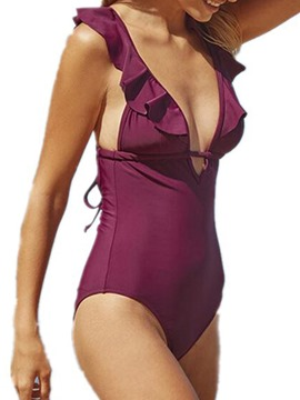 Ericdress Plain One Piece Falbala Monokini