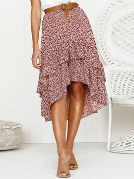 Ericdress Print Asymmetrical Knee-Length Casual High Waist Skirt(Without Waistband)