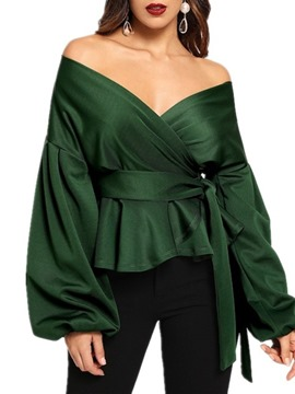 Ericdress Plain V-Neck Lantern Sleeve Standard Long Sleeve Blouse