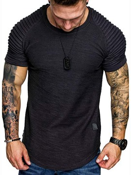Ericdress Plain European Round Neck Short Sleeve Mens Slim T-shirt